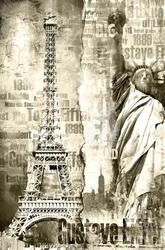 Wieża eiffla i statua wolności - plakat