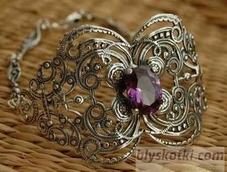 HAMILTON - srebrna bransoleta z ametystem