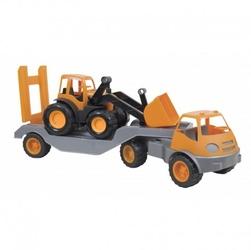 Laweta ciężarówka na gumowych kołach mochtoys pomarańczowy
