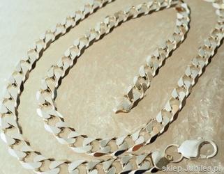 Srebrny szeroki i masywny łańcuch - splot pancerka