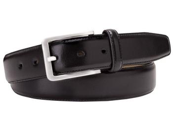Czarny skórzany pasek męski 3,5 cm 115