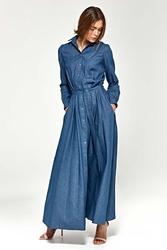 Jeansowa sukienka koszulowa maxi