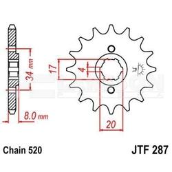 Zębatka przednia jt f287-14, 14z, rozmiar 520 2200114 honda xl 350