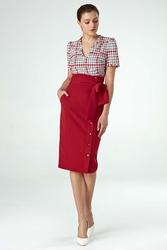 Czerwona elegancka midi spódnica z ozdobną szarfą