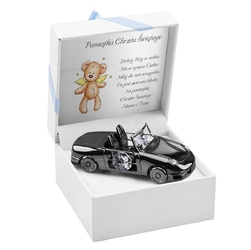 Szare auto z kryształami swarovski pamiątka na chrzest roczek grawer - auto