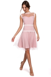 Wieczorowa sukienka tiulowa mini bez pleców różowa k030
