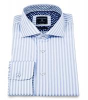 Elegancka biała koszula profuomo w błękitne paski 42