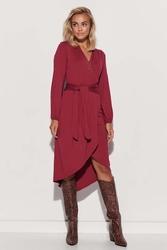 Asymetryczna sukienka z przekładanym dekoltem - bordowa