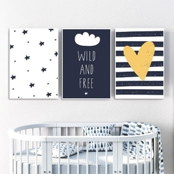 Zestaw plakatów dziecięcych - wild and free , wymiary - 60cm x 90cm 3 sztuki, kolor ramki - czarny