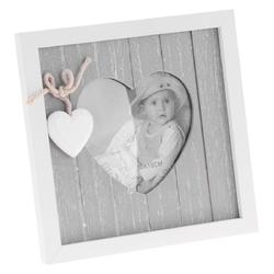 Prowansalska szara ramka retro zdjęcie w sercu grawer
