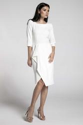 Ecru elegancka sukienka z zakładanym dołem