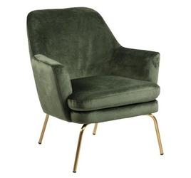 Tapicerowany fotel z poduszką bilbao vic na złotych nogach
