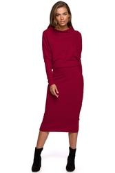 Wiśniowa nowoczesna sukienka dzianinowa