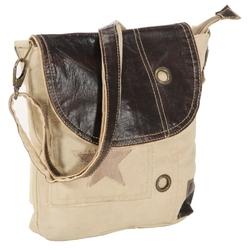 Vidaxl torba na ramię, beżowa, 29x6x24 cm, płótno i skóra naturalna