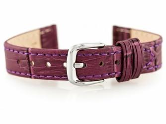 Pasek skórzany do zegarka W41 - fioletowy - 16mm