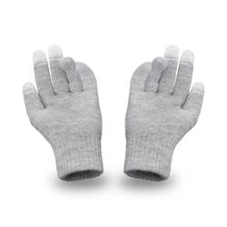 Ciepłe rękawiczki męskie na zimę pamami 16180 jasnoszare