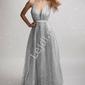 Srebrna brokatowa suknia z trenem 2179