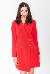 Czerwona dwurzędowa sukienka smokingowa