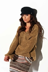 Cappuccino luźny sweter z dekoltem w szpic