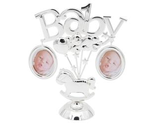 Posrebrzana ramka na zdjęcia baby chrzest grawer