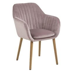 Krzesło do salonu emily różowe welur