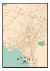 Ateny mapa kolorowa - plakat wymiar do wyboru: 42x59,4 cm