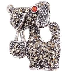 Milo srebrna broszka markazyty pies piesek