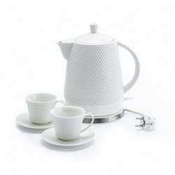 Czajnik ceramiczny biały 2 filiżanki spodki 1,5 l