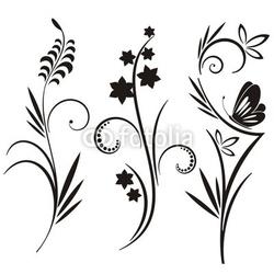 Obraz na płótnie canvas czteroczęściowy tetraptyk japońskie wzory kwiatowe