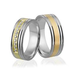 Obrączki srebrno złote z kamieniami - wzór ag-299