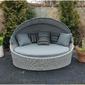 Łóżko ogrodowe z daszkiem miron technorattan jasnoszary