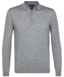 Elegancki szary sweter polo z długimi rękawami  XL
