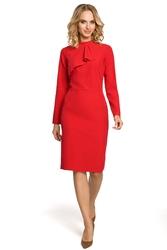 Elegancka sukienka z falbaną czerwona m325
