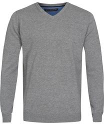 Szary sweter  pulower v-neck z bawełny  l