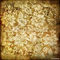 Obraz na płótnie canvas trzyczęściowy tryptyk kwiatowy wzór papieru