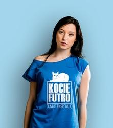 Kocie futro t-shirt damski niebieski xxl