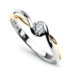 pierścionek diament żółte i białe złoto