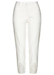 Spodnie z koronkową wstawką bonprix biel wełny