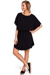 Czarna krótka oversizowa sukienka z paskiem