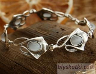 Lobelia - srebrna bransoletka z kocim okiem