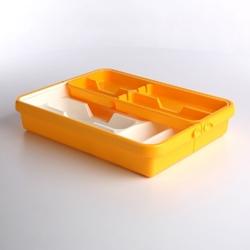 Wkład na sztućce przegródki do szuflady  organizer kuchenny tontarelli regulowana szerokość 32-55 cm, biało-żółty