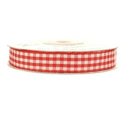 Wstążka ozdobna w kratkę 12mm22m - czerwona - cze