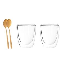 Szklanki z podwójną ścianką i dnem termiczne do napojów altom design andrea 300 ml + złote łyzeczki komplet 2 szklanek