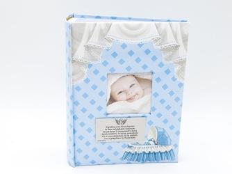 Album błękit wózek mały 9 x 13 prezent chrzest dedykacja