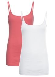 Top na cienkich ramiączkach 2 szt. w opak. bonprix pastelowy różowy + biały