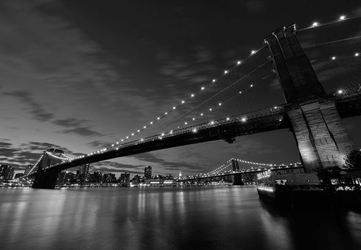 Brooklyn bridge nocą bw - fototapeta 366x254 cm