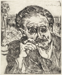 Dr gachet man with a pipe, vincent van gogh - plakat wymiar do wyboru: 59,4x84,1 cm