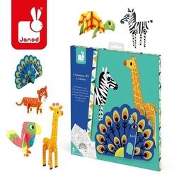 Zestaw kreatywny papierowe zwierzęta 3d, janod