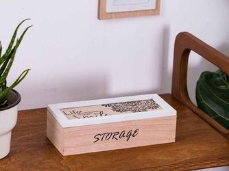 Pudełko  szkatułka do przechowywania, na biżuterię, drobiazgi drewniana prostokątna altom design mandala 24 x 10 x 7 cm