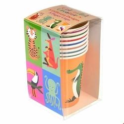 Kubki papierowe 8 szt., Kolorowe Zwierzaki, Rex London - kolorowe zwierzaki
